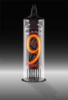 Digit 9 on vintage vacuum tube display vector illustration