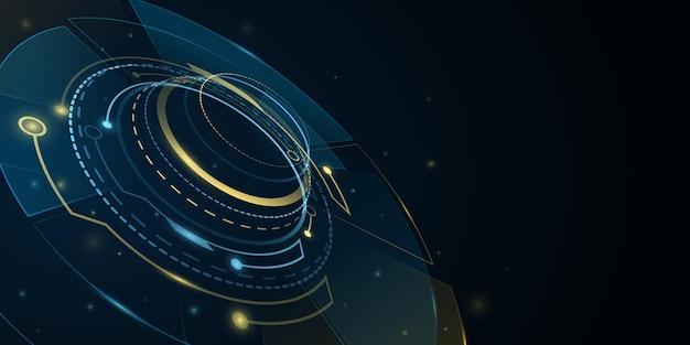 光の効果を備えたデジタル3dhud guiui。ユーザーインターフェイス用の未来的なsf要素。仮想グラフィック。技術の背景。サイバースペース。ダッシュボード表示。ベクトルイラスト。 eps 10