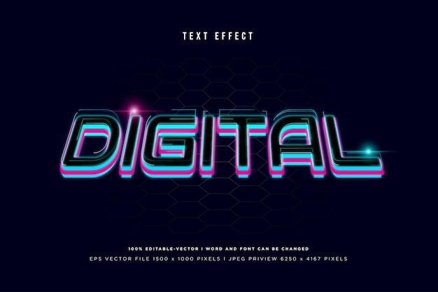 Digital 3d text effect on navy background
