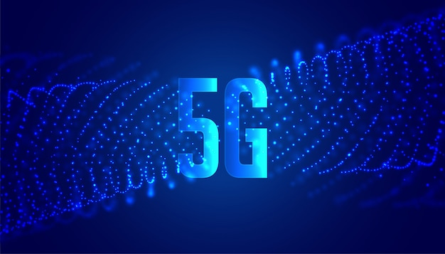 Digital 5g new wireless internet technology background with particles