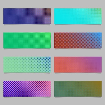 Digital abstract halftone dot pattern banner template background design set - horizontal rectangle vector graphics with circles in varying sizes