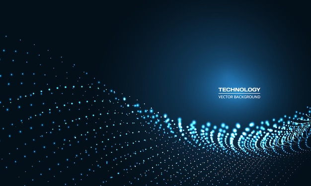 Digital abstract technology particle wave in dark blue background