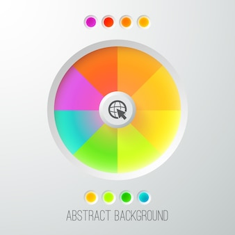 Digital abstract web template with colorful bright button