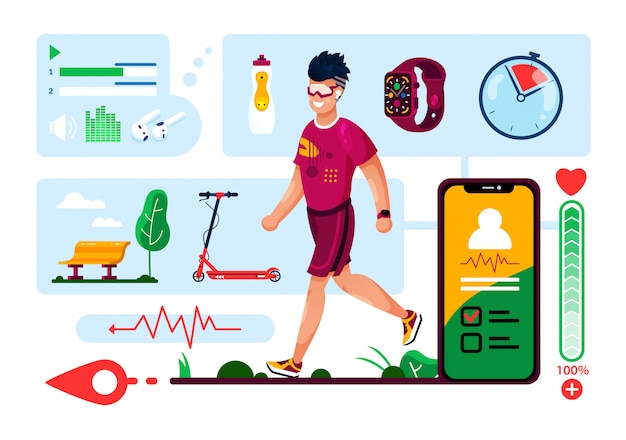 Digital accessories for fitness flat vector set