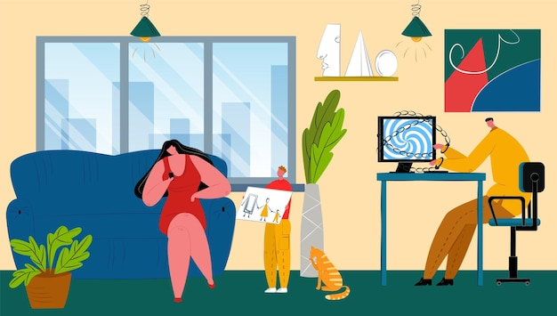 Digital addiction at family home vector illustration flat man woman parents character use phone comp...