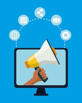 디지털 광고 및 마케팅 아이콘 프리미엄 벡터