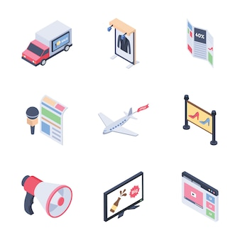 Digital advertising media channels set isometric icons