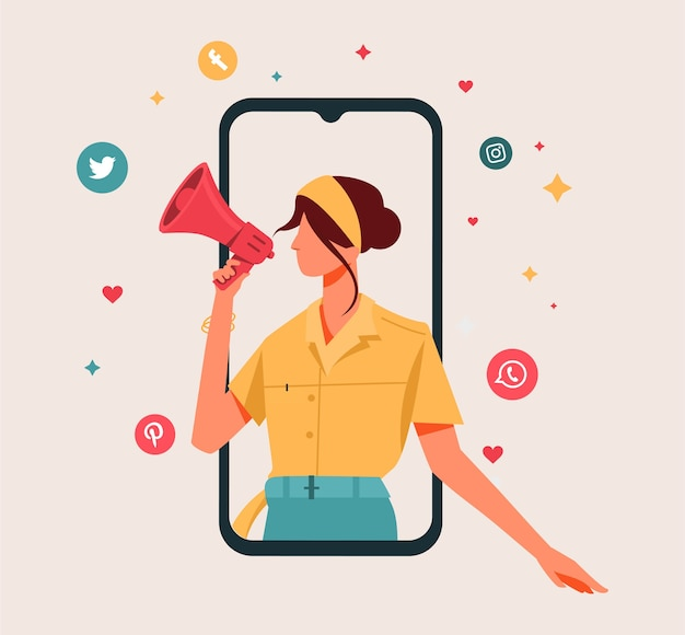 ソーシャルメディアのコンセプトを持つデジタル広告