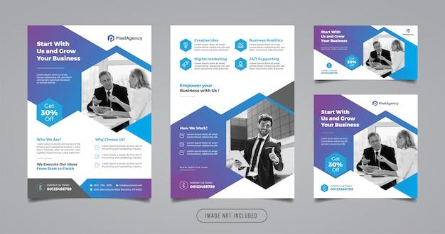 デジタル代理店マーケティングのチラシとソーシャルメディアのバナーテンプレート