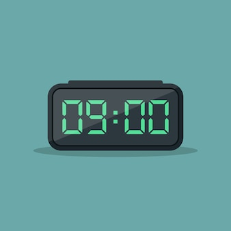 Digital alarm clock flat design  illustration