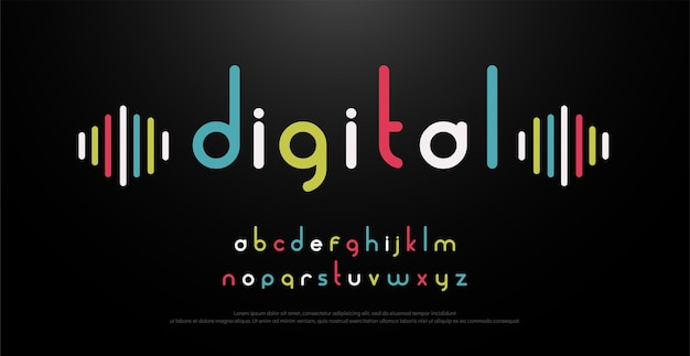 Digital alphabet font music with colorful typography