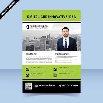 デジタルで革新的なアイデアグリーンプロフェッショナルチラシテンプレート