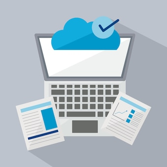 Цифровой и технологический ноутбук с документами