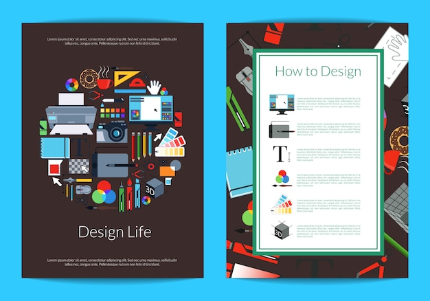 Digital art design studio or courses card template with place for text