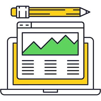 Digital art icon visual editor on vector laptop