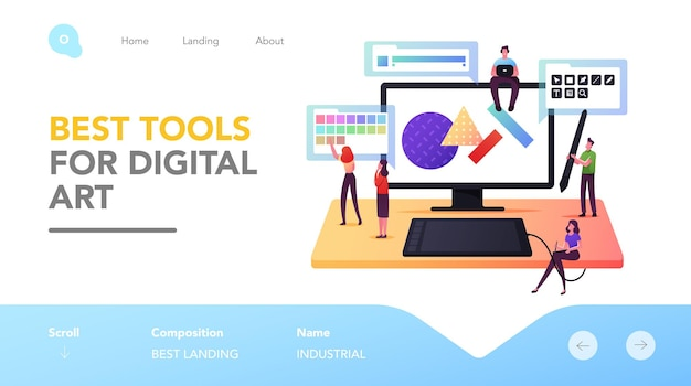 Digital art landing page template. tiny male and female graphic designer characters drawing on huge computer. creative profession, people sketching, drawing artwork. cartoon vector illustration