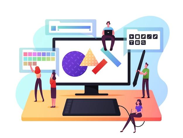 デジタルアート、ロゴ作成コンセプト。巨大なコンピューターで描く小さな男性と女性のグラフィックデザイナーのキャラクター。創造的な職業、人々のスケッチ、アートワークの描画。漫画のベクトル図