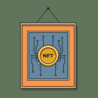 Цифровое искусство с концепцией токенов nft не взаимозаменяемые токены векторная иллюстрация