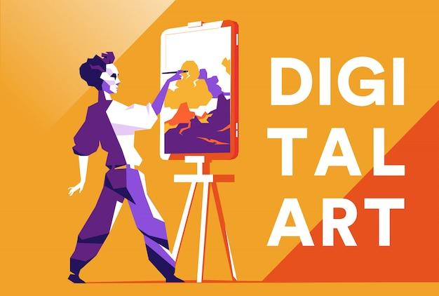 Цифровой художник рисует картину