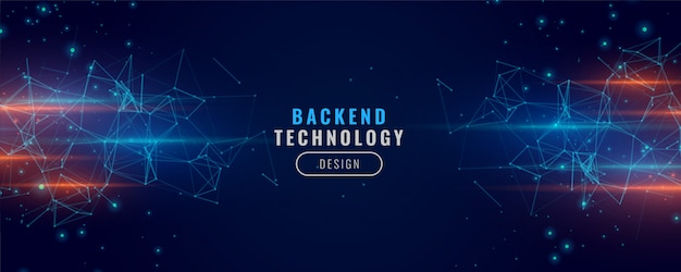 Digital backend banner technology concept particle background design