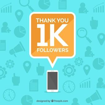 Цифровой фон 1k последователей с мобильным