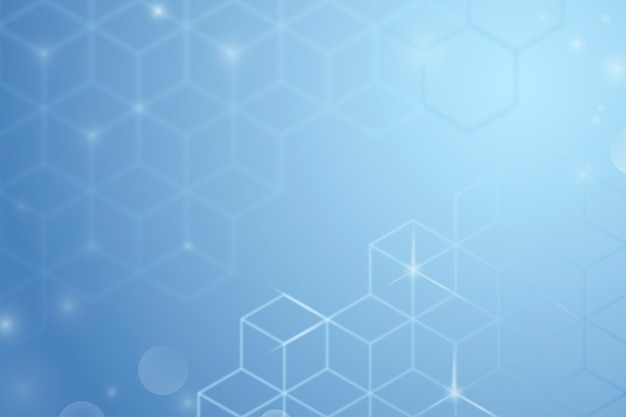 Digital background vector in blue color with cube patterns
