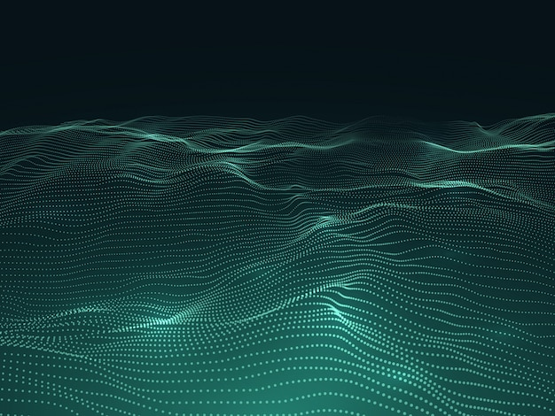 Digital background with wavy surface. 3d futuristic landscape with particles. sound waves data vector concept