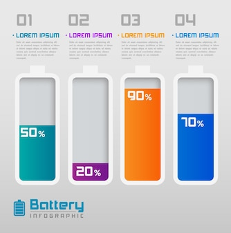 Digital battery with percentage info-graphics element