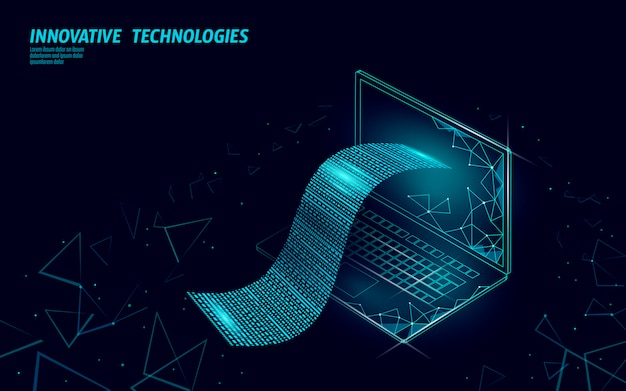 디지털 빌 3d 웹 뱅킹 개념입니다. 다각형 포인트 라인 온라인 쇼핑 티켓 결제 노트북. 금융 전자 기술 예산 배너 서식 파일