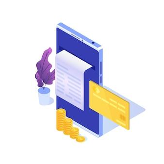 デジタル請求書、電子領収書または請求書のイラストは等尺性です。オンラインショッピング。