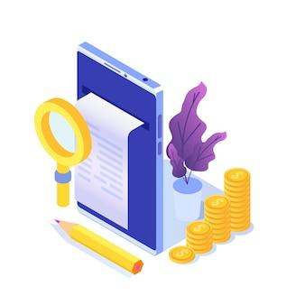 Цифровой счет, электронная квитанция или иллюстрация счета-фактуры изометрии. покупки в интернет магазине.