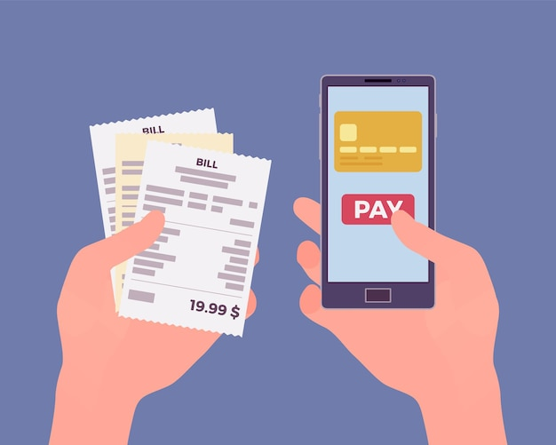 Цифровой счет для мобильных платежей. потребитель, держащий в руках смартфон и чек для оплаты онлайн-товаров, продуктов, поддержки, услуг, контента