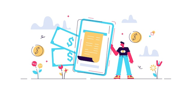 Digital bill  illustration.  tiny phone wallet persons . modern electronic financial payment method.  bank transaction service. secure online shopping mobile device technology