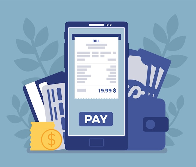 Digital bill mobile payment. web platform to make purchases, transaction performed via a smartphone device, new bank and customer relationships, secure service. vector illustration