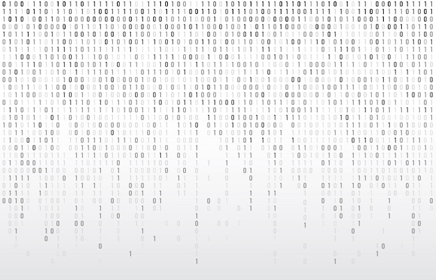 Digital binary code. computer matrix data falling numbers, coding typography and codes stream gray  background illustration