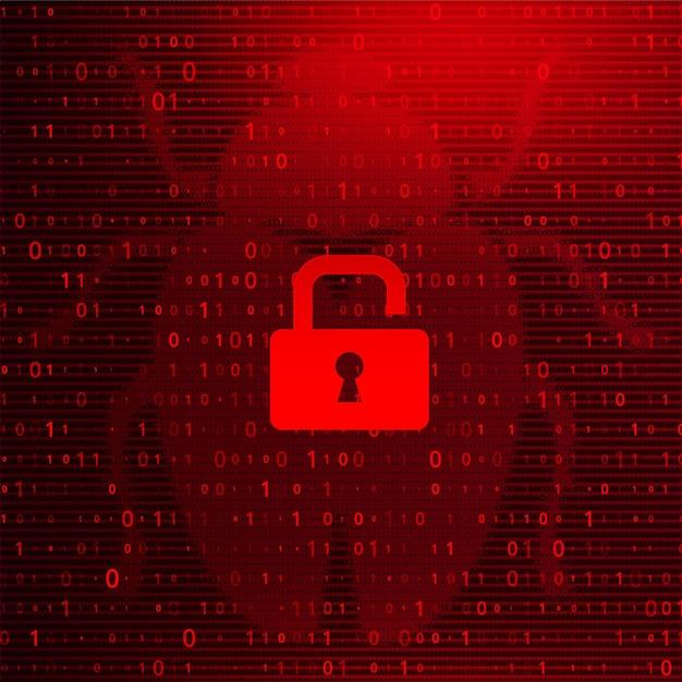 Digital binary code on dark red background with lock