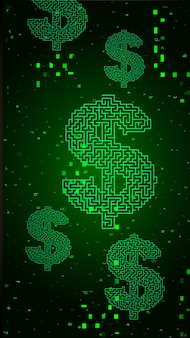 Digital binary code on green background with dollars Premium Vector