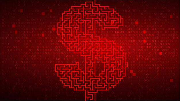 Digital binary code on red background with dollar