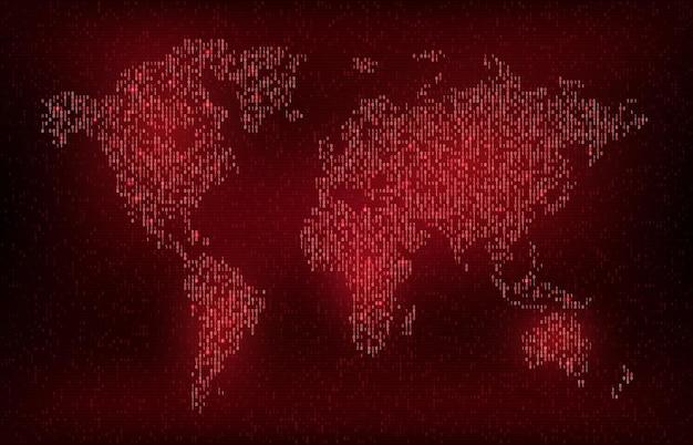 디지털 이진 코드 세계지도 사이버 디지털 및 미래 기술 배경