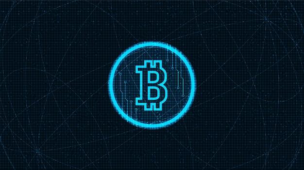 黒のネオンのデジタルビットコイン暗号通貨アイコン Premiumベクター