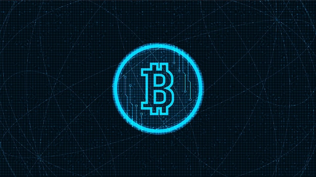 Digital bitcoin crypto currency icon in neon in black