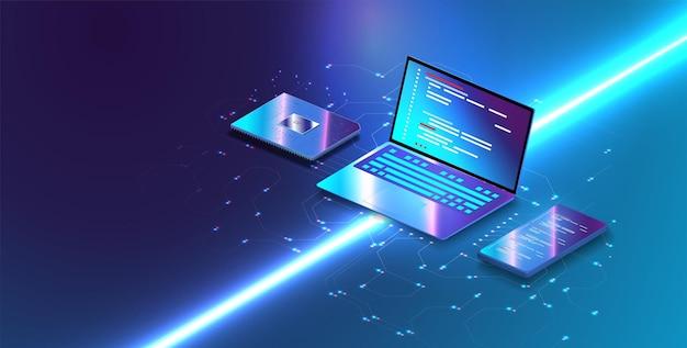 Цифровые блоки или кубы создают базу данных. блокчейн финтех-технология и майнинг криптовалюты. векторный учет, большие данные, технология блокчейн изометрия, визуализация данных мобильного телефона.