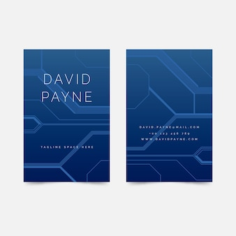 Digital blue business card template