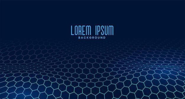 波状のデザインで流れるデジタルブルーの六角形のパターン