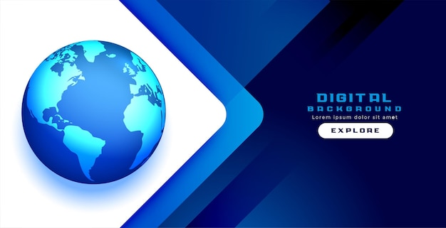 デジタルブルーワールドコンセプトバナーデザイン