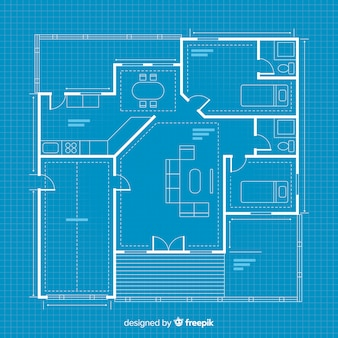 Digital blueprint house sketching