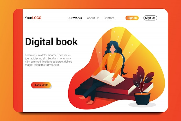Digital book landing page background.