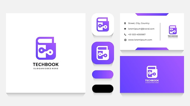 Digital book logo template and business card