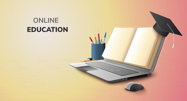 교육 개념 및 노트북에 빈 공간에 대한 디지털 도서 온라인