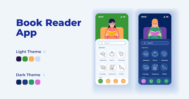 Digital book reader cartoon smartphone interface vector templates set. mobile app screen page day and dark mode design. read on smartphone ui for application. phone display with flat character
